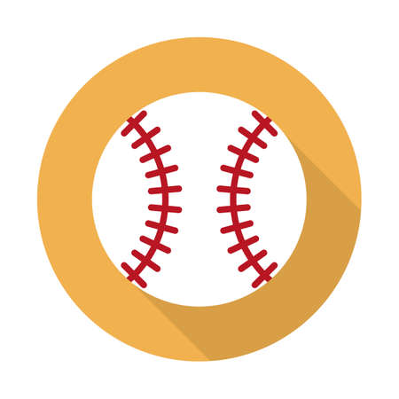 Baseball ball icon. Flat design style modern vector illustration. Isolated on stylish color background. Flat long shadow icon. Elements in flat design.