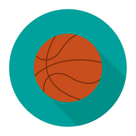 Flat style with long shadows, basketball vector icon illustration. Basketball icon