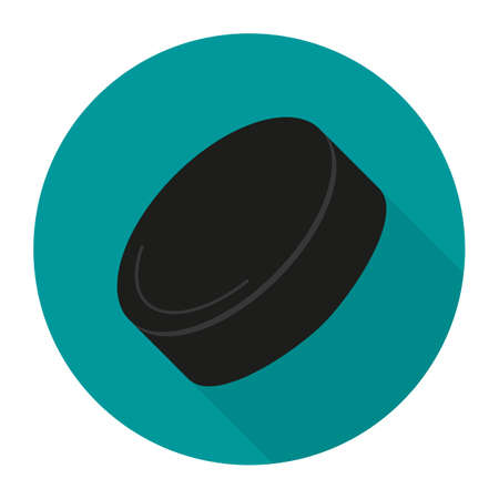 Sport icon with ice hockey puck in flat style. Vector illustration. Illustration