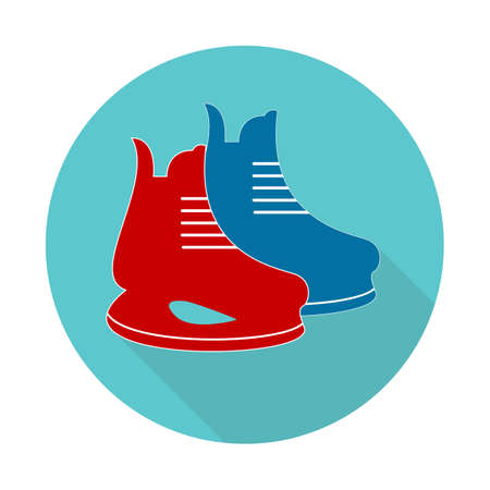 Ice skate flat design long shadow icon. Hockey skate. Vector silhouette symbol