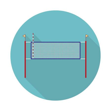 Volleyball net sign icon. Beach sport symbol. Classic flat icon. Volleyball flat icon with shadow. Vector illustration