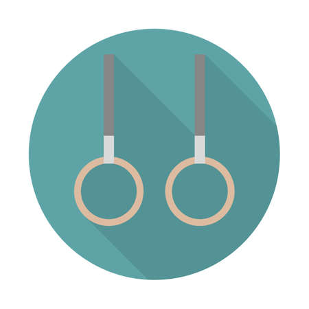 Gymnastic rings icon. Vector. Gymnastic rings flat icon with reddish shadow on circle background. Vector illustration Illustration