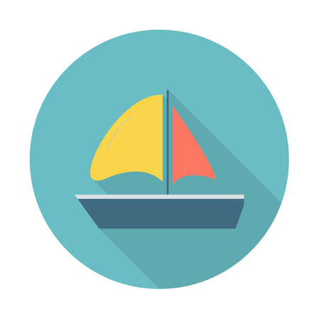 Sailing yacht flat icon. Sailing yacht flat icon with long shadows for web and mobile applications. Vector illustration