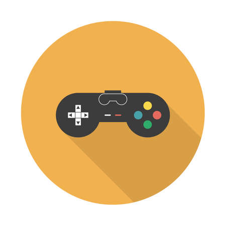 Vector flat gaming joystick icon. Flat vector icon gaming joystick with long shadow for web and mobile applications Иллюстрация
