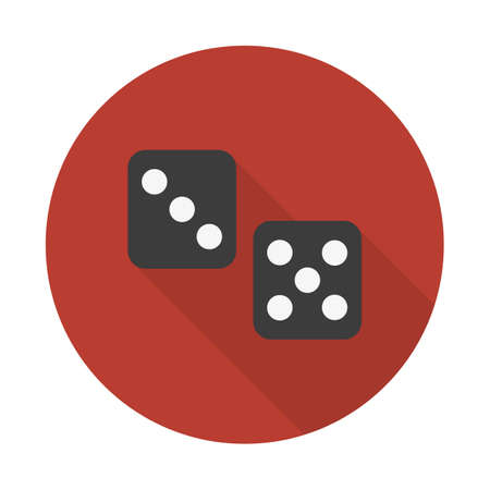 Dice icon with long shadow. flat style vector illustration. Classic flat icon