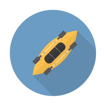 Yellow kayak with paddle, Flat vector icon with long shadow for web and mobile applications