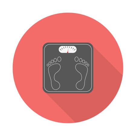 Weight Scale with long shadow. Bathroom scales icon with long shadows. Vector illustration in modern flat style. EPS 10. Ilustração