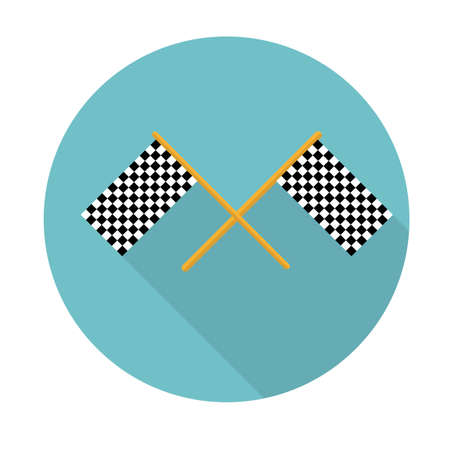 Two finishing flag vector icon illustration. Flat style with long shadows. Vector illustration
