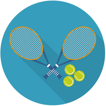 Vector illustration of flat icon 2 tennis rocket with balls . Flat vector related icon with long shadow for web and mobile applications. It can be used as - logo, pictogram, icon, infographic element.