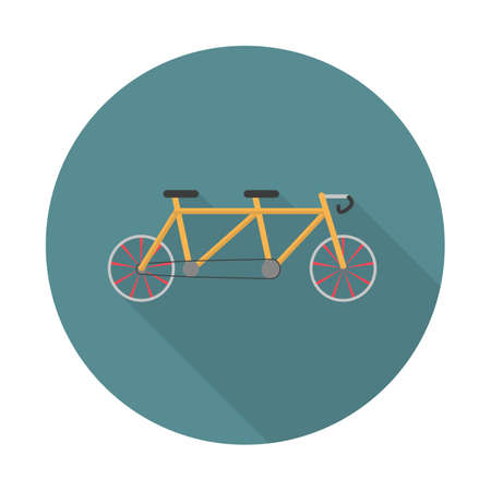 Tandem bike icon. Pleasure bicycle for two. Double bicycle. Flat long shadow icon. Elements in flat design.