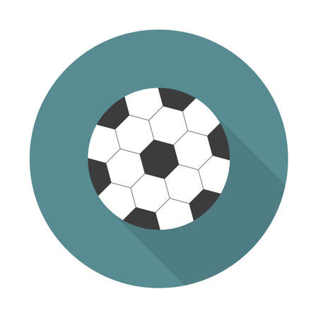Soccer ball icon. Football ball vector illustration flat design with long shadow.