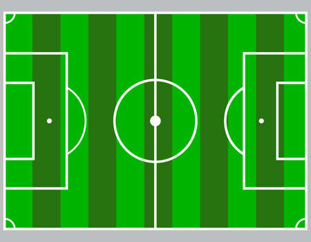 Flat green field, football grass. Soccer field with line template. Vector flat stadium.