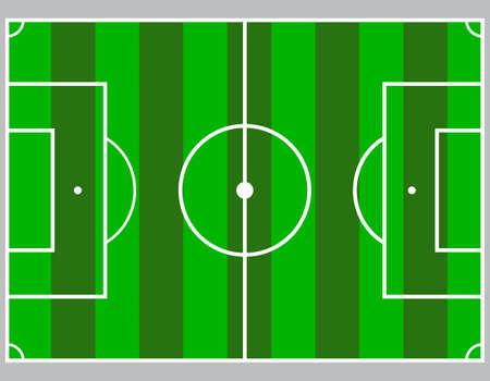 Flat green field, football grass. Soccer field with line template. Vector flat stadium.