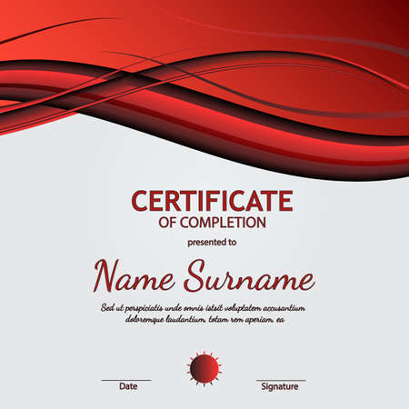 Certificate of completion template with light red and black dynamic wavy background. Vector illustration