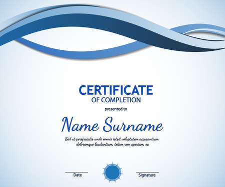 Certificate of completion template with dynamic blue soft wavy background. Vector illustration