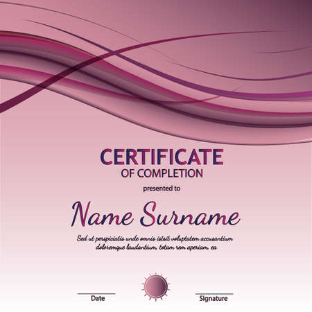 Certificate of completion template with purple wavy curved lines in dynamic smooth style. Vector illustration