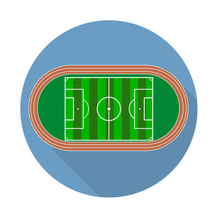 Flat green field, football grass. Soccer field with line template. Flat long shadow icon Vector flat stadium.
