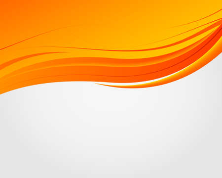 Abstract bright soft design background with orange wavy curved lines in dynamic smooth style. Vector illustration
