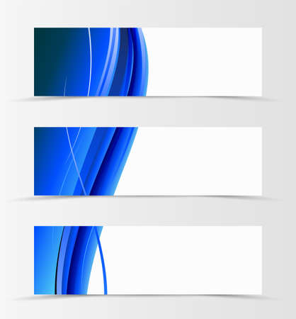 Set of header banner wave design with blue lines in material design style. Vector illustration Ilustracja