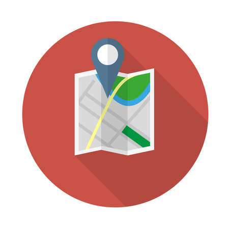 Location map icon in flat design with long shadow. Vector illustration flat map with navigator, map indicator
