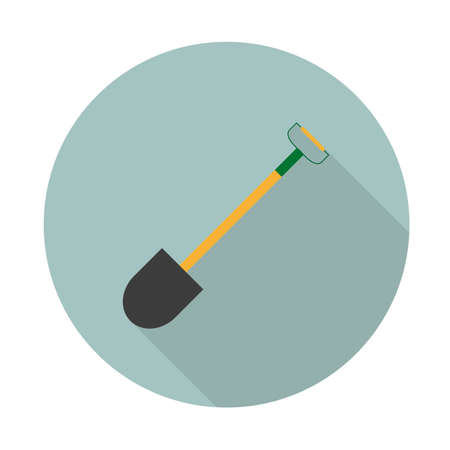 Vector color flat shovel icon in flat style with long shadow. Industrial equipment. Vector illustration Banco de Imagens - 125462213