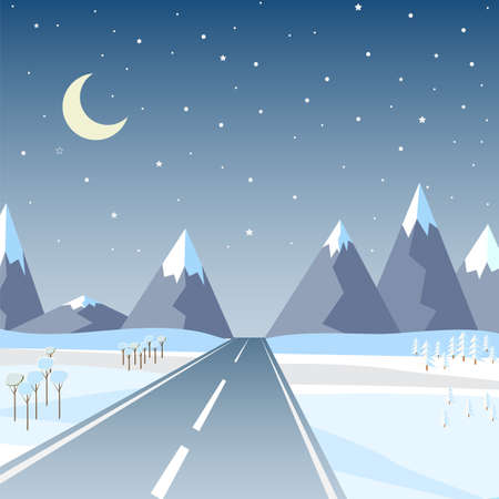 Vector illustration in flat style: Winter mountains landscape with road, pine, christmas tree and clear starry sky with stars and month.