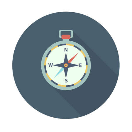 compass flat icon with long shadow. Sport symbol vector illustration for web and mobile applications