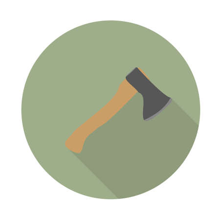 Axe color flat icon with long shadow. Camp equipment. Vector illustration