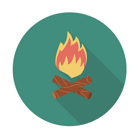 Fire. Single flat color icon with long shadow. Icon for web and mobile application. Vector illustration.