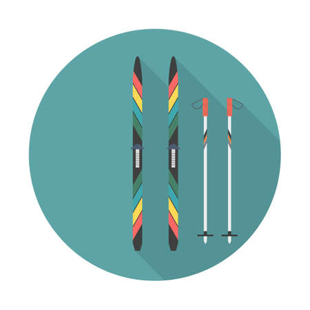 Ski and sticks flat icon with long shadow. Sport symbol vector illustration for web and mobile applications Stock Illustratie