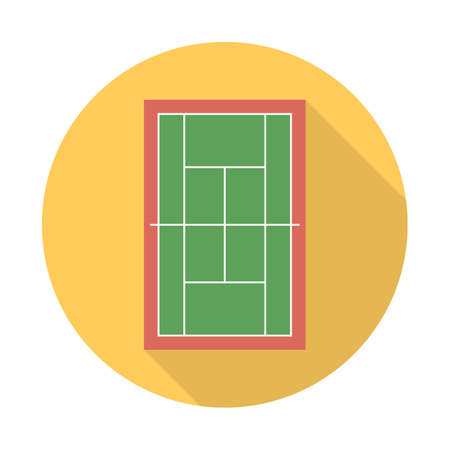 Tennis court in a flat style with a long shadow. Sport symbol vector illustration
