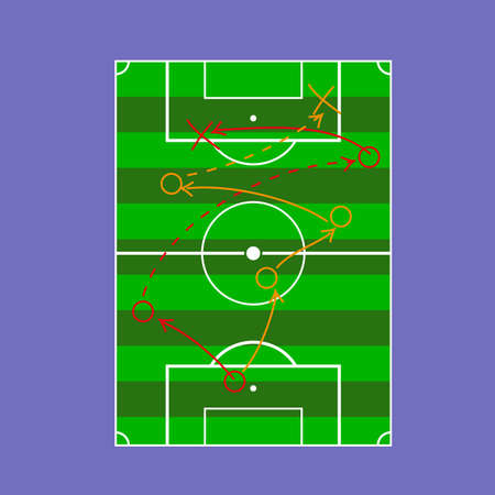 Soccer tactic table in a flat style. Sport symbol vector illustration