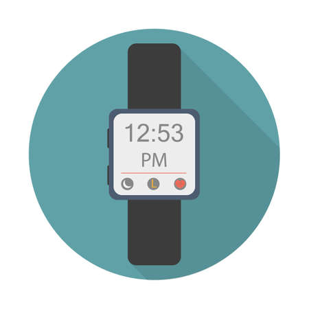 Sport watches for running flat icon with long shadow on blue background. Sport symbol vector illustration