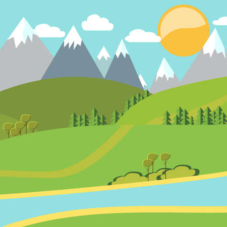 Modern vector flat design conceptual natural landscape illustration. Environmentally friendly natural landscape.Vector illustration  イラスト・ベクター素材