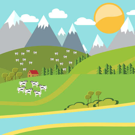 Modern vector flat design conceptual natural landscape with cow and house. Environmentally friendly natural landscape.Vector illustration  イラスト・ベクター素材