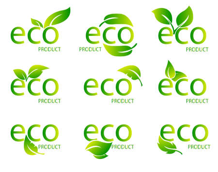Set of Eco Friendly Organic Natural Product Green Logo. Set of green word with green leaf .Vector Illustration Stock Illustratie