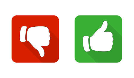 Thumb up and down the red and green icons. Vector illustration. I like and do not like the square buttons in a flat design. Фото со стока - 125462236