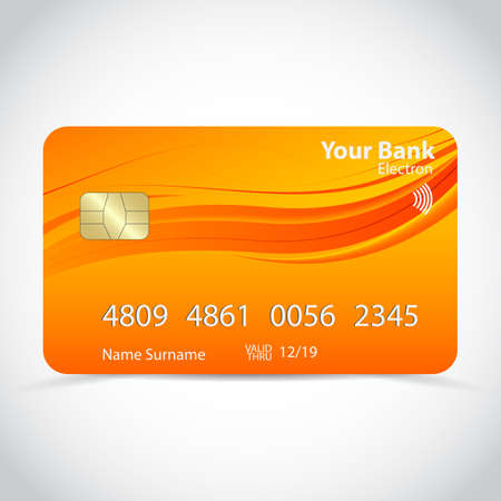 Realistic detailed credit card with soft abstract geometric orange design, isolated on white background. Vector Ilustração