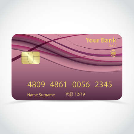 Realistic detailed gold credit card with purple wavy curved lines in dynamic smooth style, isolated on white background. Vector Ilustração