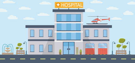 Hospital building vector illustration in flat design. Modern clinic with helicopter. Vector illustration background Ilustração