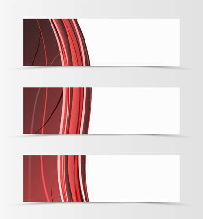 Set of header banner wave design with red lines in material design style. Vector illustration