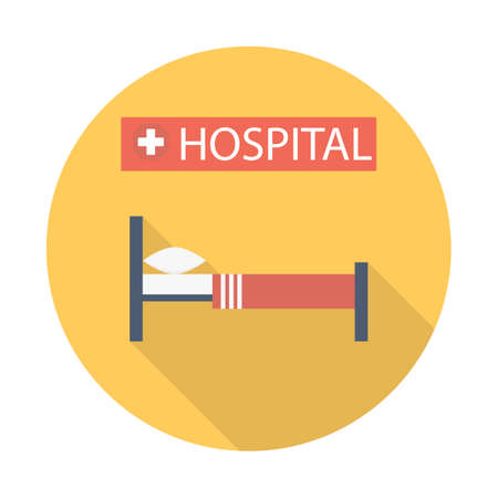 hospital bed Flat style Icon with long shadows. Vector illustration
