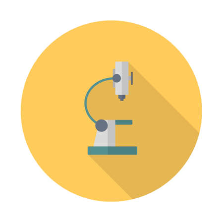 Microscope icon, modern flat icon with long shadow. Vector illustration