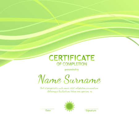 Certificate of completion template with dynamic light green soft wavy background. Vector illustration