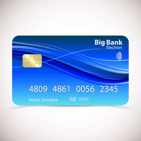 Realistic detailed credit card with soft abstract geometric blue design, isolated on white background. Vector Ilustração