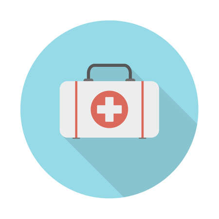 First aid medical kit flat icon with long shadow. Vector illustration