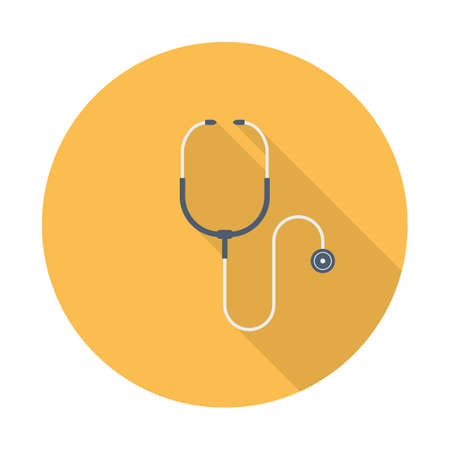 Stethoscope icon in flat design with long shadow. Vector illustration
