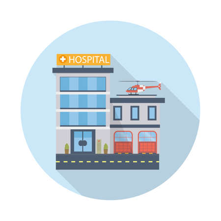 Hospital building vector icon in flat design. Modern clinic with helicopter. Vector illustration