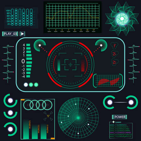 Futuristic user interface. Element user interface. Blue elements. Vector illustration Ilustração