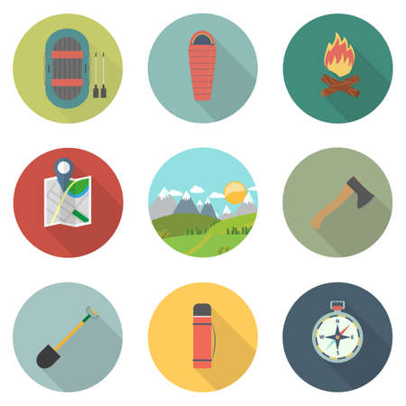 Flat icons set : Adventure and Camping, Trips and Travel. Vector illustration